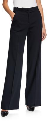 Emporio Armani High Waist Textured Wool Wide Leg Trousers