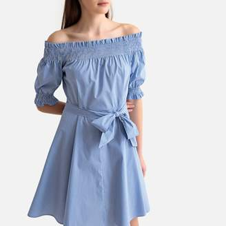 Benetton Striped Cotton Mix Off-the-Shoulder Dress with Tie-Waist