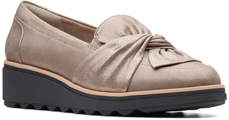 Clarks Sharon Dasher Leather Slip-On Wedge Flat - Wide Width Available