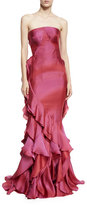 Zac Posen Strapless Ruffled Mermaid Gown, Raspberry