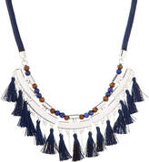 Chaps Lapis & Silvertone Out of the Blue Drama Tassel Necklace