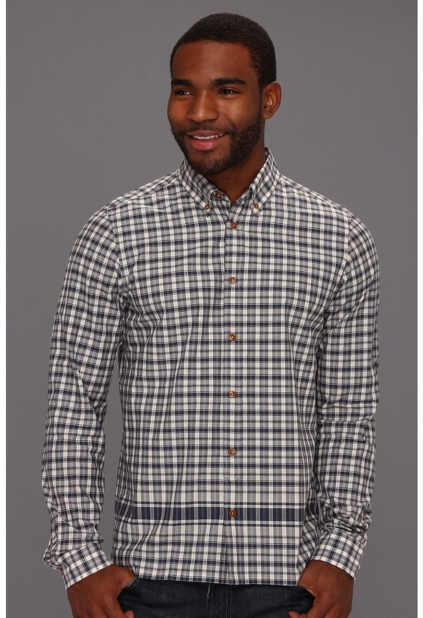 Ben Sherman Plectrum Laundered Engineered Placement Check L/S Shirt (Blue) - Apparel