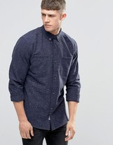 Bellfield Fleck Double Pocket Navy Shirt