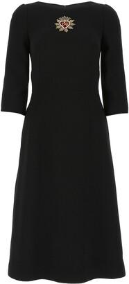 Dolce & Gabbana Logo Embroidered Midi Dress