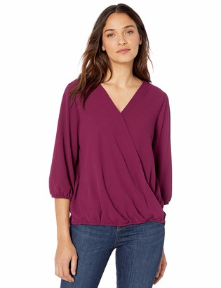 Amy Byer Women's 3/4 Bubble Sleeve Top