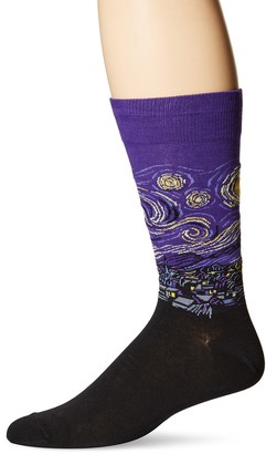 Hot Sox Men's Starry Night Crew Sock Purple (asst2) Shoe Size 6 to 12.5