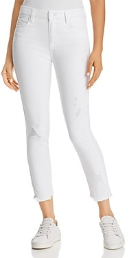 Paige Hoxton Ankle Skinny Jeans in Crisp White Destructed