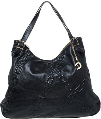 Aigner Black Chain Embossed Leather Hobo