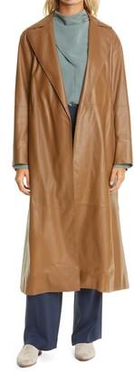 Vince Leather Wrap Coat