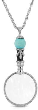 """2028 Silver Tone Semi-Precious Turquoise Magnifier 30"""" Pendant"""