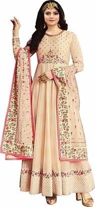 Lady Dwiza Indian Readymade Embroidered Dola Art Silk Wedding Party Wear Anarkali Salwar Suit for Women (14