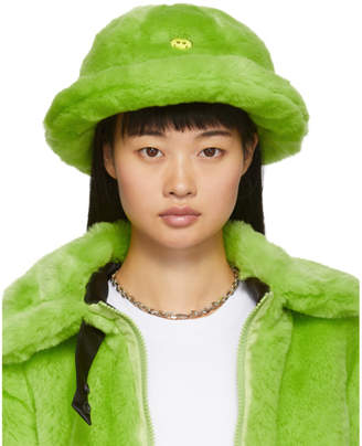 Kirin Green Faux-Fur Smile Bucket Hat