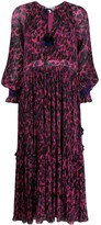 Derek Lam 10 Crosby Nemea Pleated Speckled Floral Maxi Dress with Smocking Detail