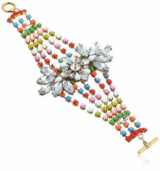 Steve Madden Women's Floral Rainbow Beaded Rhinestone Cuff Bracelet