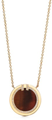 Tiffany & Co. T diamond and tiger's eye circle pendant in 18k gold