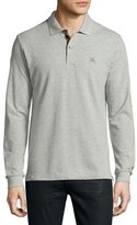 Burberry Long-Sleeve Oxford Polo Shirt, Gray Melange