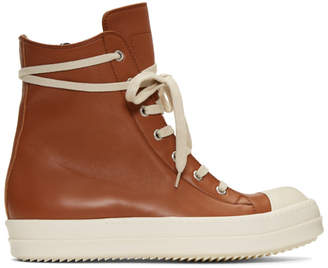 Rick Owens Brown and White Leather High-Top Sneakers