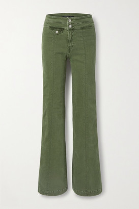 Veronica Beard Ember High-rise Wide-leg Jeans - Army green