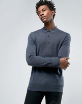 AllSaints Knitted Long Sleeve Polo in Merino Wool