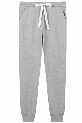 Amorbella Womens Drawstring Pants Lounge Pajama Terry Sweatpants Jogger Cuff Bottoms with Pockets (Light Grey Medium)