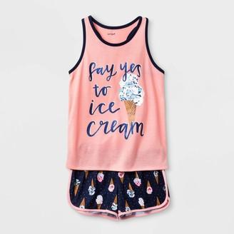 Cat & Jack Girls' 2pc Ice Cream Cone Pajama Set - Cat & JackTM Coral
