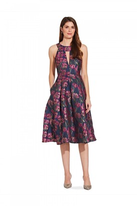 Adrianna Papell Metallic Jacquard Dress In Fuchsia Multi