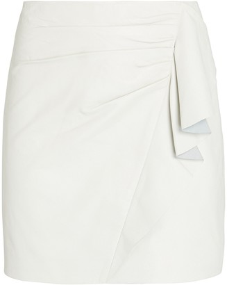 Mason by Michelle Mason Ruffled Leather Mini Skirt