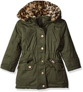 Urban Republic Little Girls' Cotton Twill Anorak Jacket with Faux Fur Hood