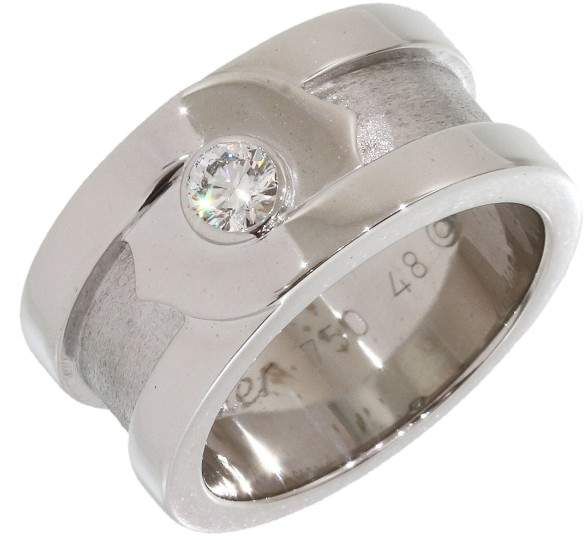 Cartier 18K White Gold Diamond Double C Motif Band Ring Size 4.5