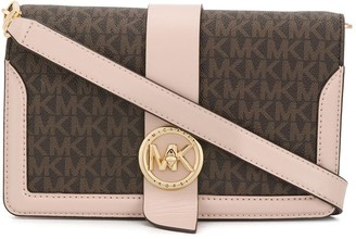 MICHAEL Michael Kors circle clasp logo printed cross body bag