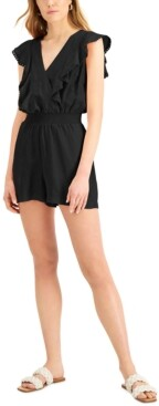 INC International Concepts Inc Surplice Flutter-Sleeve Romper, Created for Macy's