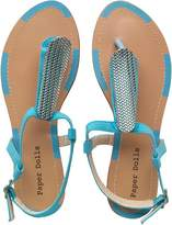 Paper Dolls Womens Ankle Strap Thong Sandals Blue
