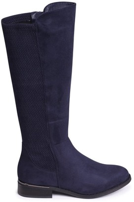 Linzi LIBERTY - Navy Suede Long Boots With Waffle Stretch Back