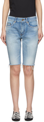 Saint Laurent Blue Denim Washed Bermuda Shorts