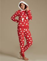 Marks and Spencer Fleece Heart Print Long Sleeve Pyjamas