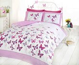 Art Butterfly Duvet Cover Quilt Bedding Set, Pink, King