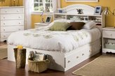 Summer Breeze Full Mate's Bed & Bookcase Headboard White Wash