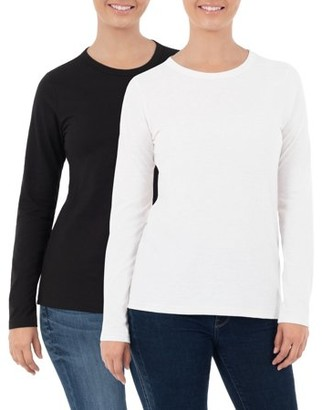 Time and Tru Women's Long Sleeve Crewneck T-Shirt, 2 Pack Bundle