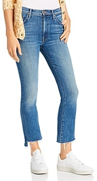 Mother The Insider Crop Step Fray Flared Jeans in Wild Game