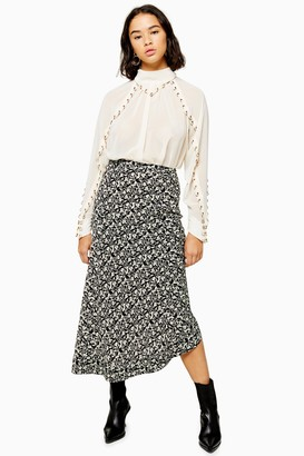 Topshop Womens Petite Idol Black And White Ruched Floral Midi Skirt - Black