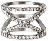 Women's Wide Band Ring with Glass Stones - Silver
