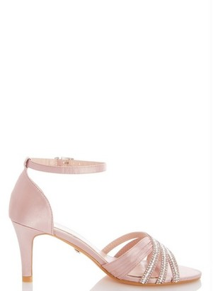 Dorothy Perkins Womens Quiz Pink Diamante Mid Heel Sandals, Pink