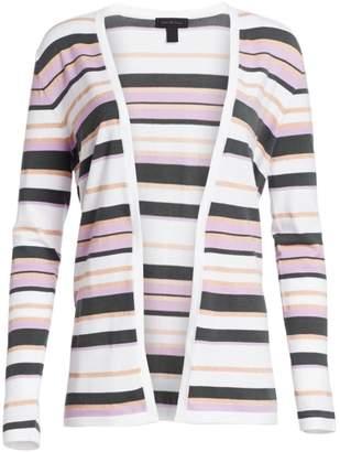 Saks Fifth Avenue Viscose Elite Open Front Striped Cardigan