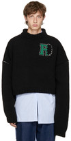 Raf Simons Black Cropped University Badge Sweater