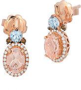 LeVian Morganite, Diamond and 14K Rose Gold Stud Drop Earrings