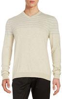 Black Brown 1826 Quarter Striped V-Neck Sweater