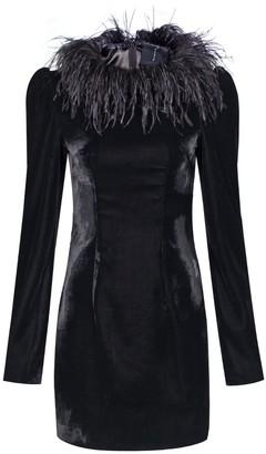 Rue Agthonis Black Velvet Feather Collar Dress