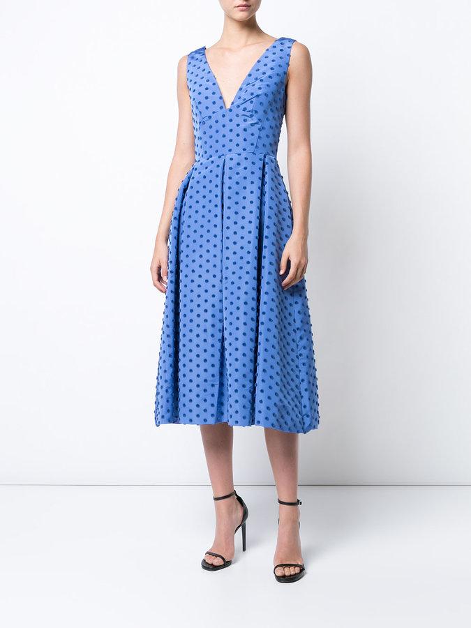 Lela Rose box pleated dots dress