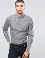 Sisley Slim Fit Shirt with All Over Disty Print