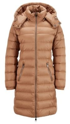 HUGO BOSS Long-length packable coat in water-repellent fabric